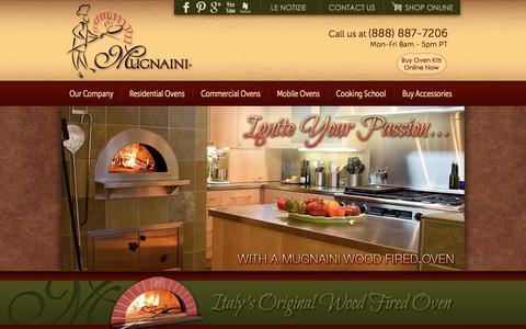 Screenshot of Home Page mugnaini.com - Mugnaini Pizza Ovens – Italy's Original Wood Fired Pizza Oven - captured Sept. 19, 2014