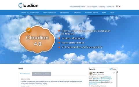 Screenshot of Home Page cloudian.com - Object Storage Software,S3 Object Storage | Cloudian, Inc. - captured July 11, 2014