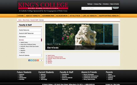 Screenshot of Services Page kings.edu - Services | King's College - captured Sept. 19, 2014