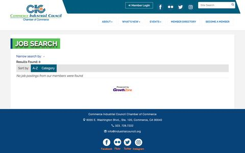 Screenshot of Jobs Page industrialcouncil.org - Job Search - Commerce Industrial Council Chamber of Commerce, CA - captured Dec. 22, 2017