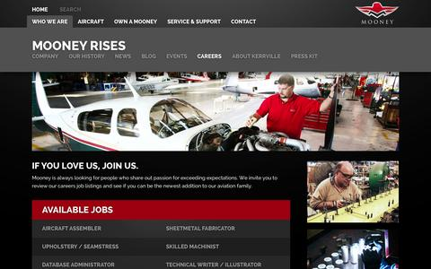 Screenshot of Jobs Page mooney.com - Careers » Mooney International Mooney International - captured Oct. 1, 2014