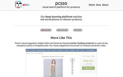 Screenshot of Home Page pcsso.com - pcsso: visual search platform - captured Sept. 17, 2014