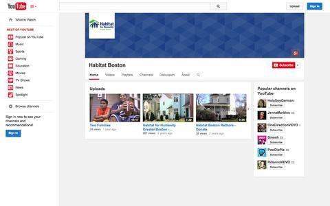 Screenshot of YouTube Page youtube.com - Habitat Boston  - YouTube - captured Oct. 22, 2014