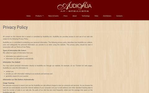 Screenshot of Privacy Page af-speakers.com - Privacy   Audiofilia AF-Speakers - captured Oct. 9, 2017