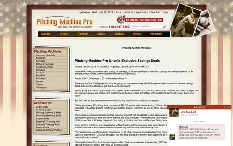 Screenshot of Press Page pitchingmachinepro.com - Pitching Machine Pro News - captured July 19, 2018