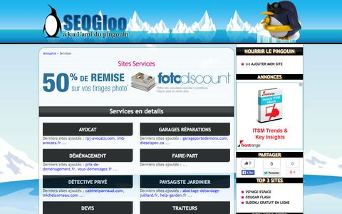 Screenshot of Services Page seogloo.com - TOP Services sur SEOGloo.com - captured Oct. 31, 2014