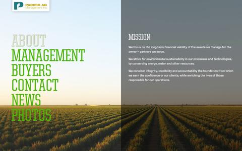 Screenshot of About Page pac-ag.com - About - Pacific AG Management - captured Oct. 1, 2014
