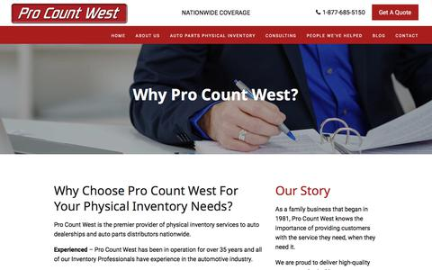Screenshot of About Page procountwest.com - Auto parts inventory management solutions for Dealerships - captured Sept. 6, 2017