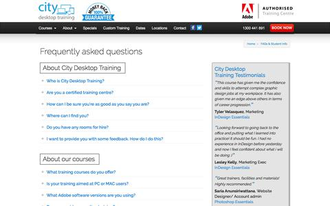 Screenshot of FAQ Page cd.com.au - FAQs | City Desktop Training - captured July 2, 2017