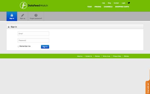 Screenshot of Login Page datafeedwatch.com - DataFeedWatch - captured Sept. 17, 2014