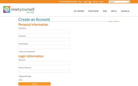 Screenshot of Signup Page resetyourself.com - Reset Yourself Create New Customer Account We have the tools and expertise to Transform your health! - captured Oct. 29, 2014