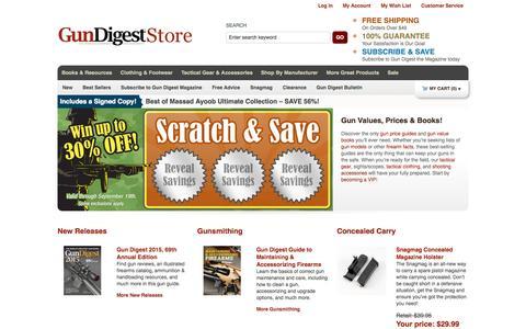 Screenshot of Home Page gundigeststore.com - Gun Supplies: Books, Accessories, Gun Values & Prices     GunDigestStore - captured Sept. 22, 2014