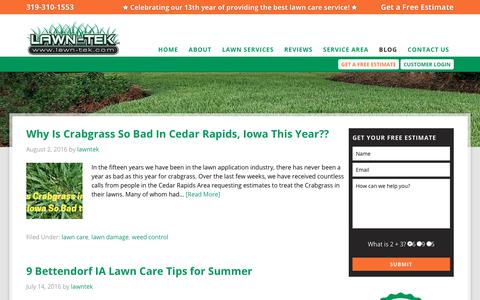 Screenshot of Blog lawn-tek.com - Lawn Care Service Landscaping Blog Tips Maintenance Ideas - captured Jan. 29, 2018