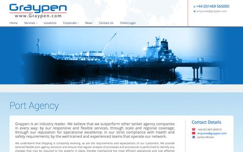 Screenshot of Services Page graypen.com - Tanker & Port Agency Services - captured Oct. 3, 2014
