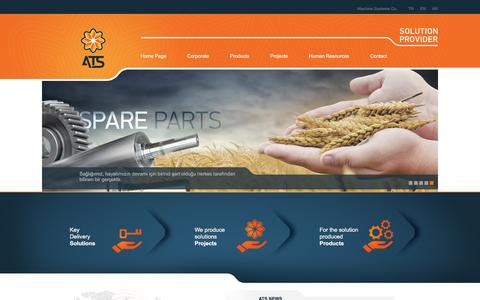 Screenshot of Home Page atsmachine.com.tr - .:: ATS Machine Systems | Solution Provider ::. - captured Feb. 5, 2016