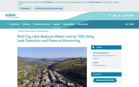 Screenshot of Case Studies Page xylem.com - Park City, Utah Reduces Water Loss by 10% Using Leak Detection and Pressure Monitoring   Xylem UK - captured Nov. 9, 2019