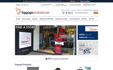Screenshot of Home Page theluggageprofessionals.com.au - The Luggage Professionals Store | Shop Luggage Online & In-store in Melbourne and Sydney at Most Competitive Prices - captured Oct. 1, 2015