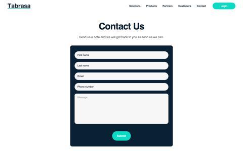 Screenshot of Contact Page tabrasa.io - Tabrasa - Contact Us - captured July 20, 2019
