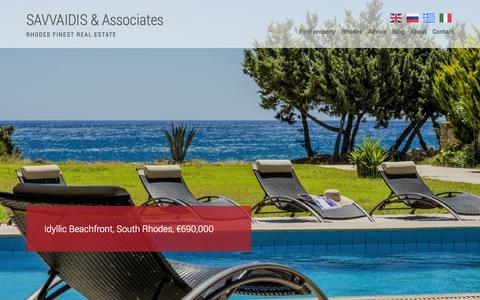Screenshot of Home Page savvaidis.com - Savvaidis & Associates - Luxury Real Estate in Rhodes, Greece - captured Sept. 19, 2014