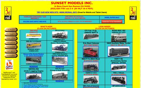Screenshot of Home Page 3rdrail.com - 3rd Rail Division of Sunset Models - captured Oct. 16, 2015