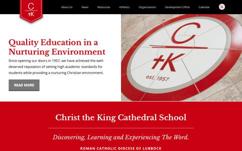 Screenshot of Home Page ctkcathedralschool.org - Christ the King Cathedral School- Catholic Private School - captured July 1, 2018