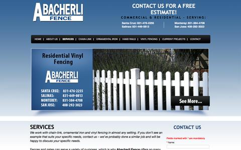 Screenshot of Services Page abacherlifence.com - Fencing Services | Central CA Ornamental, Privacy, Picket Fences - captured March 1, 2016