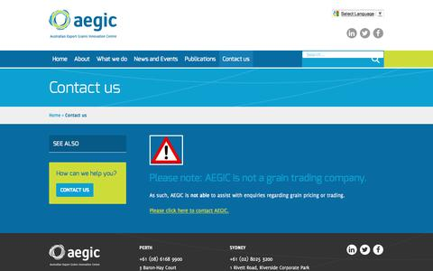 Screenshot of Contact Page aegic.org.au - Contact us - Aegic | Australian Export Grains Innovation Centre - captured May 28, 2017