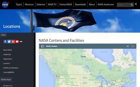 Screenshot of Locations Page nasa.gov - NASA Centers and Facilities | NASA - captured March 30, 2016