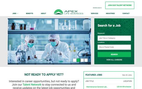 Screenshot of Jobs Page apexlifesciences.com - Apex Life Science Careers - captured Jan. 9, 2018