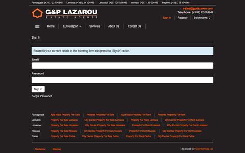 Screenshot of Login Page gplazarou.com - Sign In - G & P Lazarou - captured Sept. 25, 2018