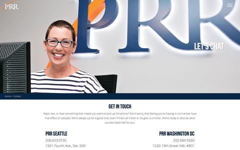 Screenshot of Contact Page prrbiz.com - Contact | PRR Biz - captured Jan. 23, 2016