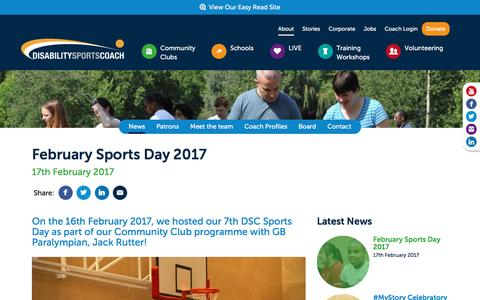 Screenshot of Press Page disabilitysportscoach.co.uk - February Sports Day 2017 - captured Feb. 18, 2017