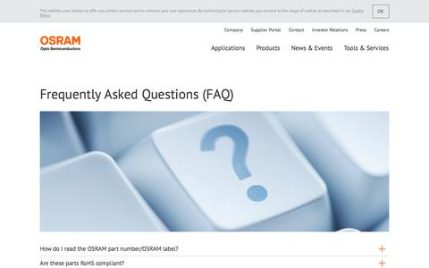 Screenshot of FAQ Page osram.com - Frequently Asked Questions • FAQ • OSRAM Opto Semiconductors | Light is OSRAM - captured Dec. 6, 2016