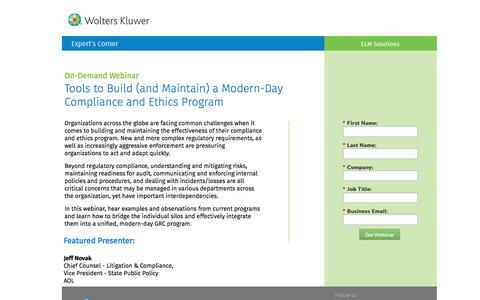 Screenshot of Landing Page datacert.com - Webinar: Tools to Build (and Maintain) a Modern-Day Compliance and Ethics Program - captured Aug. 17, 2016