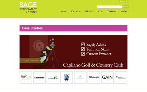 Screenshot of Case Studies Page sageinternet.com - Case Studies - Sage Web Strategy + Design - captured Oct. 4, 2014