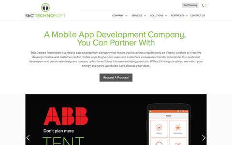 Screenshot of Home Page 360technosoft.com - Mobile App Development Company, Android, iPad, iPhone Application Development India - captured Oct. 31, 2017