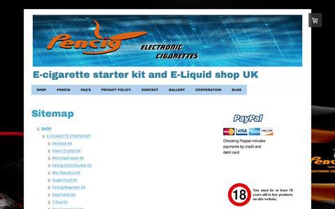 Screenshot of Site Map Page pen-cig.co.uk - Sitemap - Pencig E-cigs - captured Dec. 8, 2015