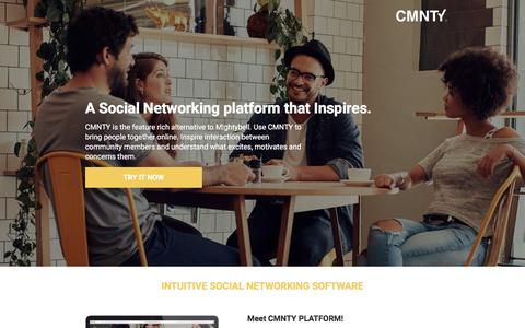 Screenshot of Landing Page cmnty.com - Mightybell Alternative that Inspires Interaction - captured Feb. 8, 2017