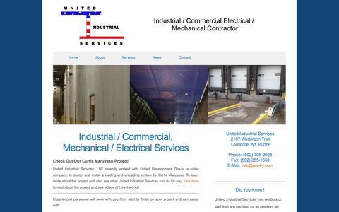 Screenshot of Services Page uis-ky.com - Electrical - Industrial Services - Planning, Design, Estimates - captured Nov. 29, 2016