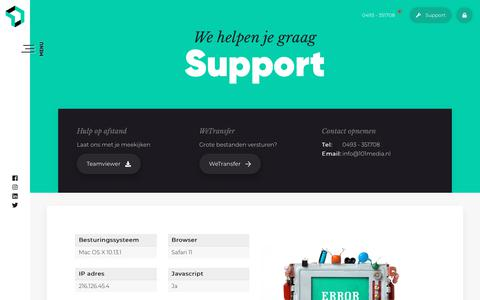 Screenshot of Support Page 101media.nl - Support - 101Media - captured Oct. 20, 2018