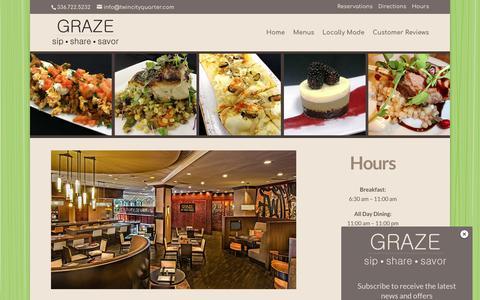 Screenshot of Hours Page grazews.com - GRAZE Winston-Salem Hours - Dining & Bar Open Daily - captured Oct. 23, 2018