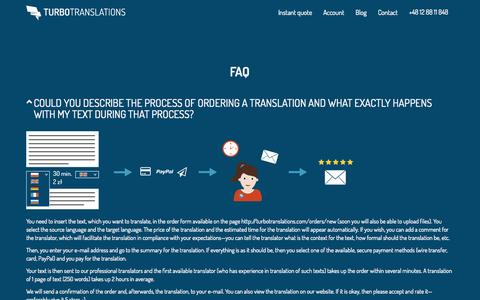 Screenshot of FAQ Page turbotranslations.com - TurboTranslations.com - express online translation services - captured Aug. 11, 2015