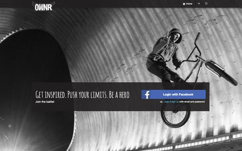 Screenshot of Home Page ownr.fm - OWNR | Get inspired. Push your limits. Be a hero - captured Aug. 16, 2015