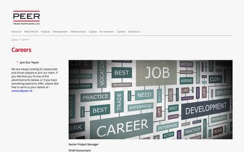 Screenshot of Jobs Page peer.hk - Peer Partners Ltd. - captured Oct. 2, 2014