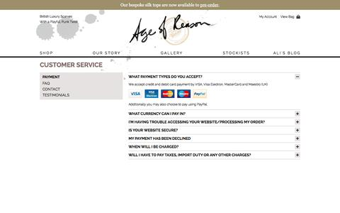 Screenshot of Support Page age-of-reason-studios.com - Payment - Age of Reason - captured Oct. 4, 2014