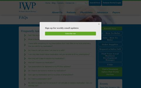 Screenshot of FAQ Page iwpharmacy.com - FAQs | IWP - captured Oct. 12, 2018
