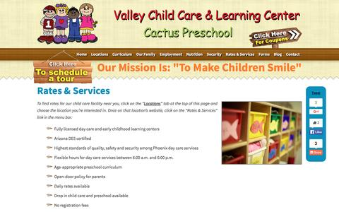 Screenshot of Services Page valleylearningcenters.com - Phoenix Day Care | Licensed Day Care | Phoenix, AZ - captured Feb. 16, 2016