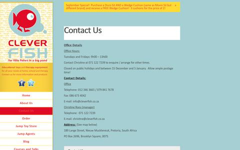 Screenshot of Contact Page cleverfish.co.za - Contact Us | Clever Fish - captured Sept. 30, 2014