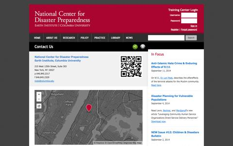 Screenshot of Contact Page columbia.edu - Contact Us - National Center for Disaster Preparedness | NCDP - captured Sept. 18, 2014