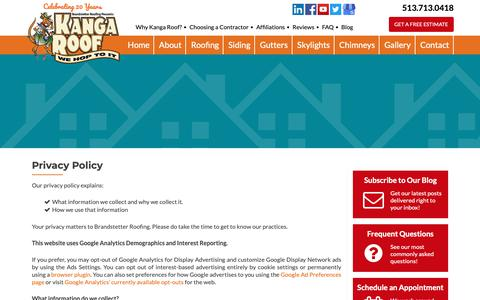 Screenshot of Privacy Page brandstetterroofing.com - Privacy Policy | Brandstetter's Kanga Roof - captured Oct. 6, 2018
